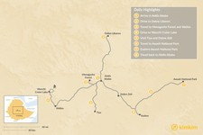 Map thumbnail of Short Trips In and Around Addis Ababa - 8 Days