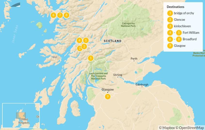 Map of Hike Scotland's Highlands & Islands: Glen Coe, Ben Nevis & the Isle of Skye - 9 Days