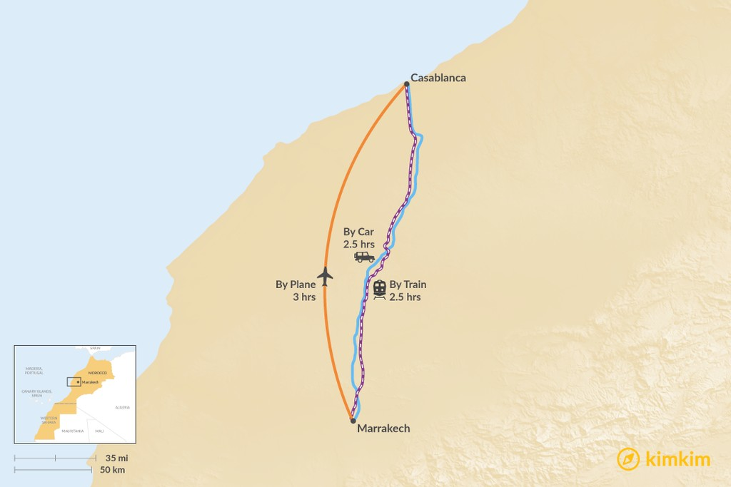 Map of How to Get from Marrakech to Casablanca