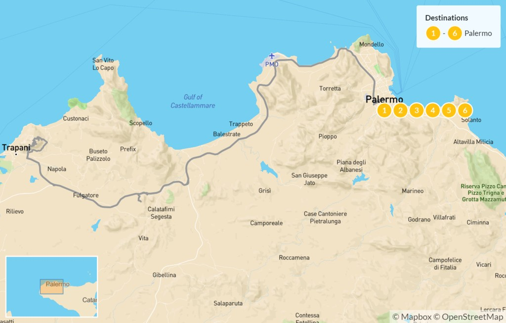Map of Palermo and Surroundings - 7 Days