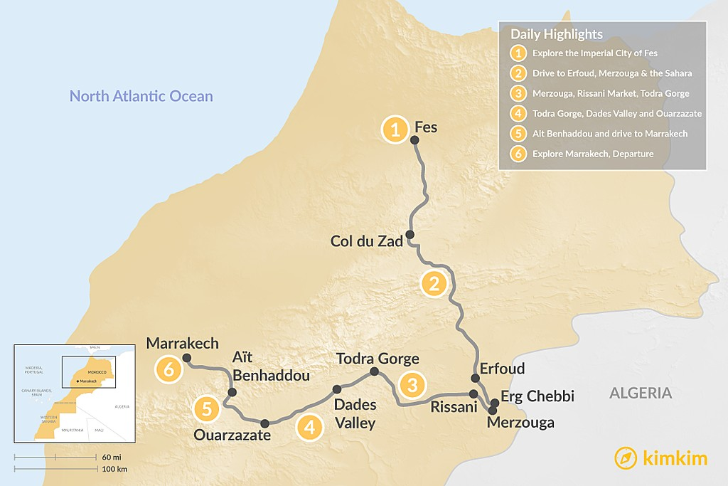 Map of Moroccan Highlights: Fes, the Sahara Desert, & Marrakech - 6 Days