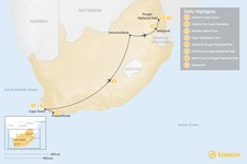 Map thumbnail of Cape Town & Kruger Park Safari - 8 Days