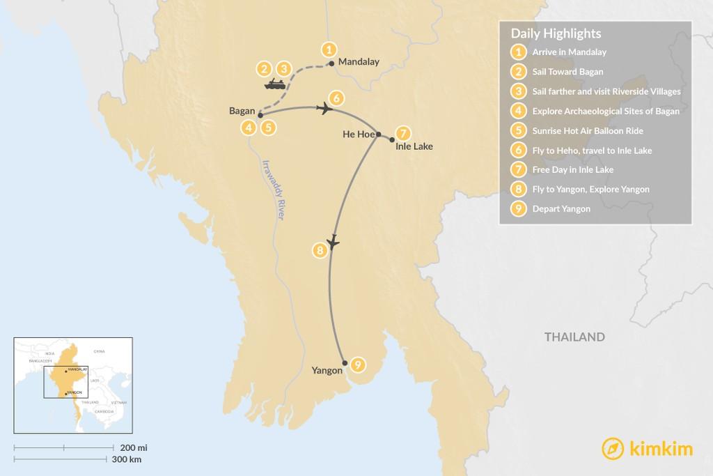 Map of Luxury & Adventure  in Myanmar - 9 Days