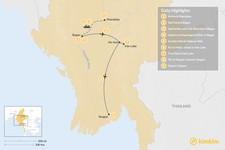 Map thumbnail of Luxury & Adventure  in Myanmar - 9 Days
