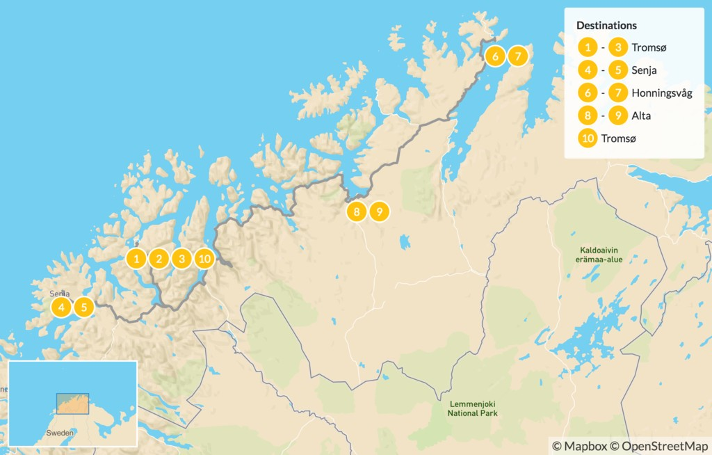 Map of Autumn in Northern Norway - 11 Days