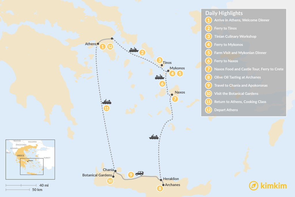 Map of Cyclades & Crete Culinary History Tour - 12 Days