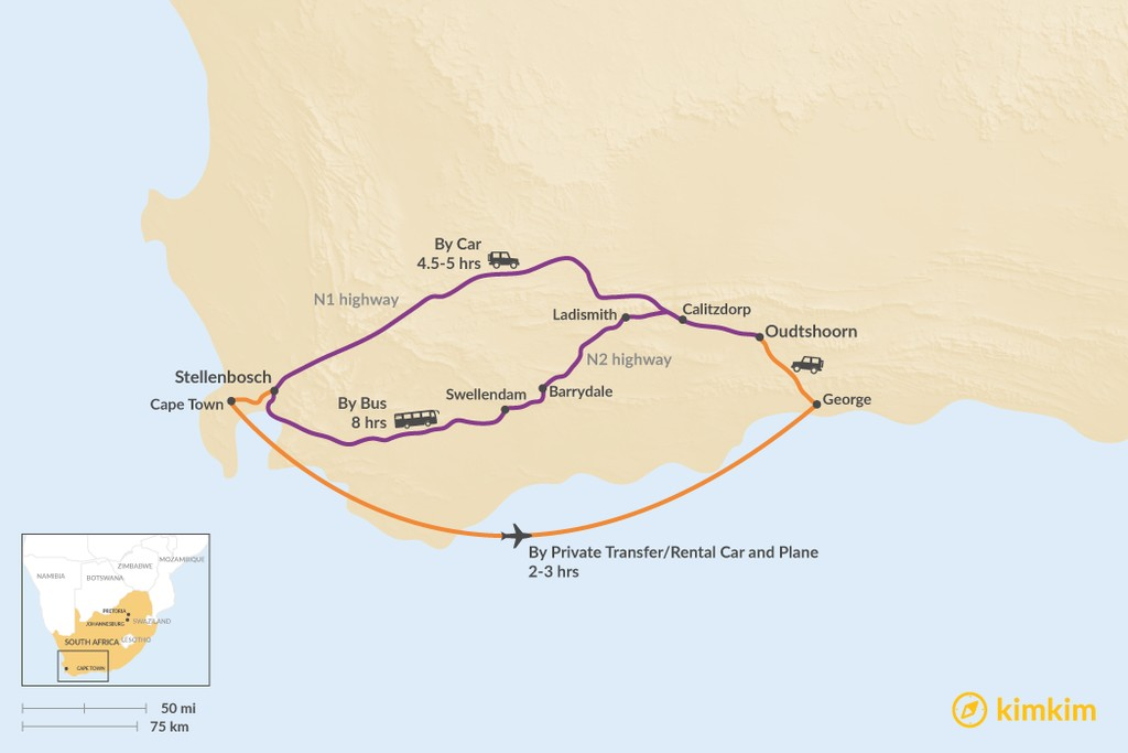 Map of How to Get from Stellenbosch to Oudtshoorn