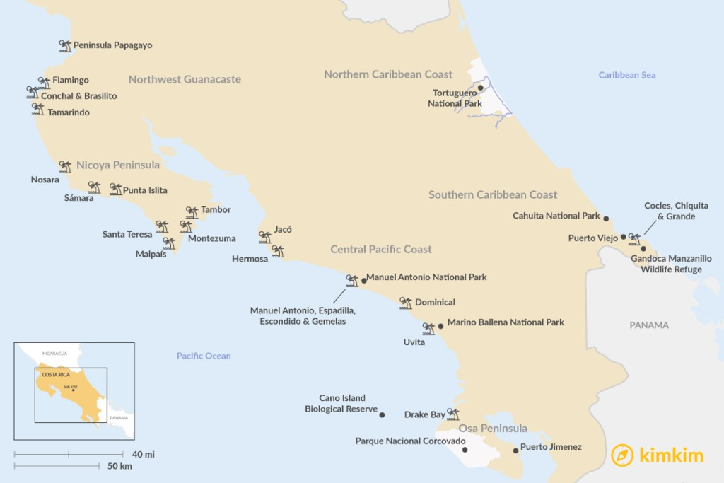 Map of Costa Rica's Best Beaches