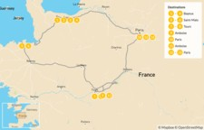 Map thumbnail of Normandy, Brittany & the Loire Valley - 14 Days