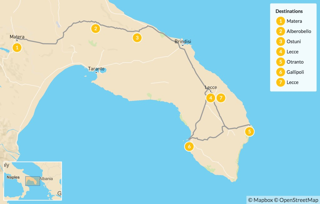 Otranto Italy Map.Cycling In Southern Italy 8 Days Kimkim