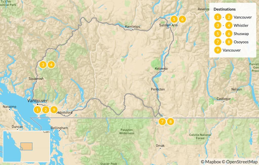 Map of British Columbia Circuit: Whistler, Shuswap, & Okanagan Valley - 10 Days