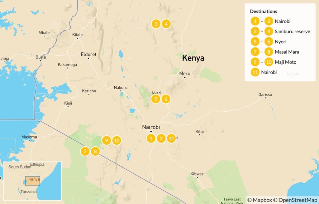 Map of Luxury Safari in Kenya - 12 Days