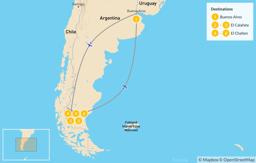 Map of Los Glaciares & Fitz Roy - 7 Days