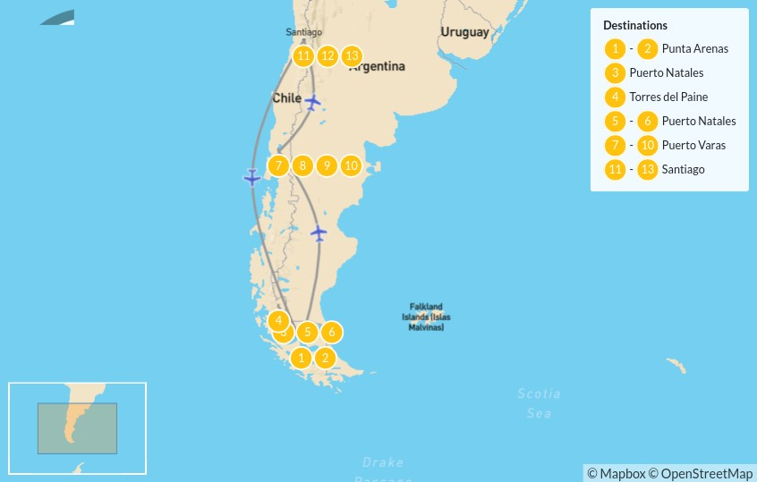 Map of Wonders of Chile: Patagonia, Lake District & Santiago - 14 Days