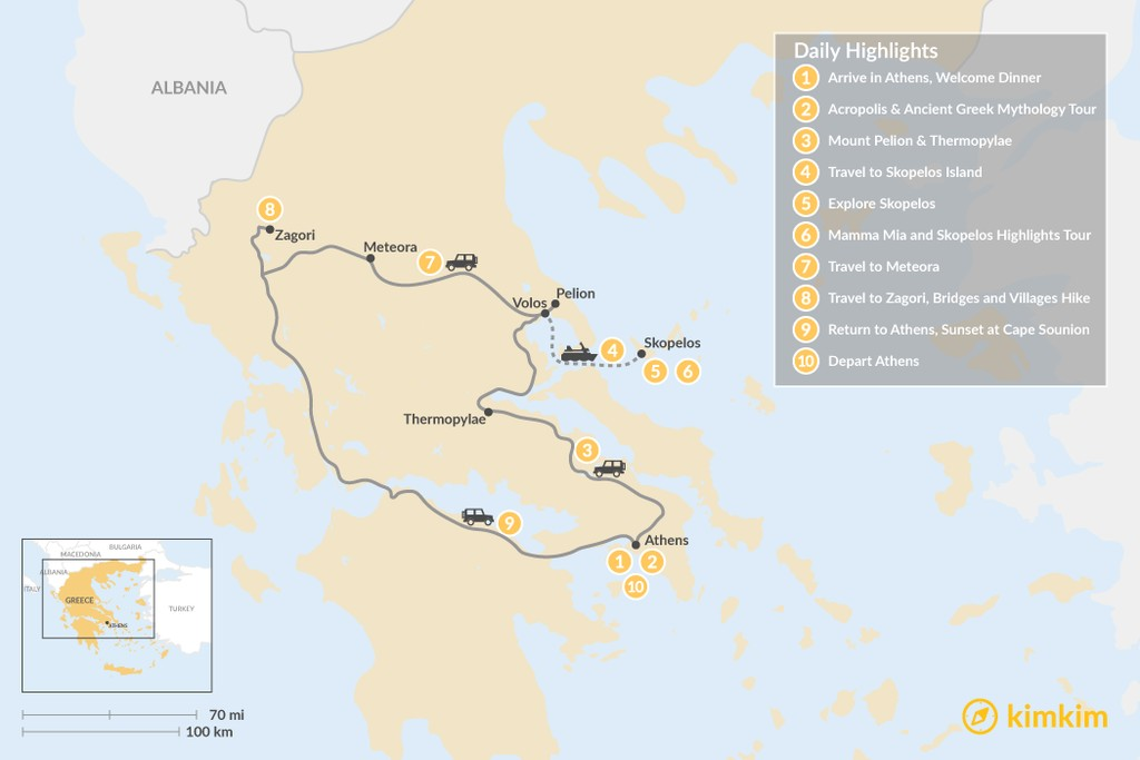 Map of Central Greece & Skopelos Exploration - 10 Days