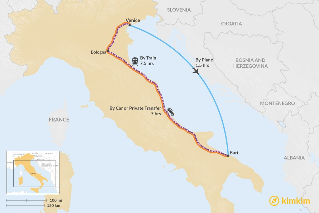 Map of How to Get from Venice to Puglia