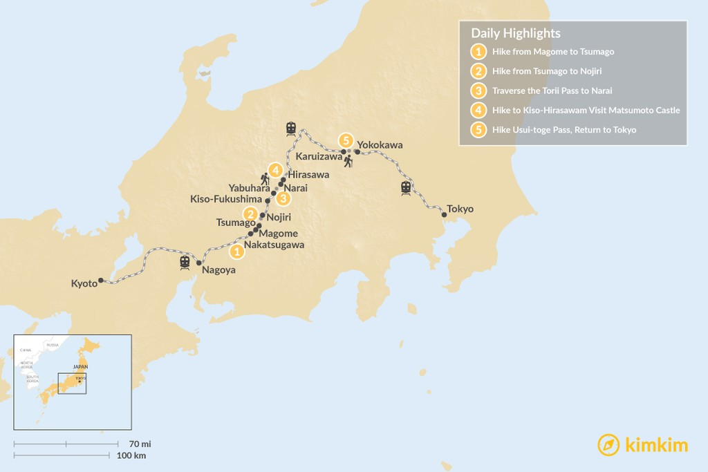 Map of Hike Japan's Nakasendo Trail - 5 Days