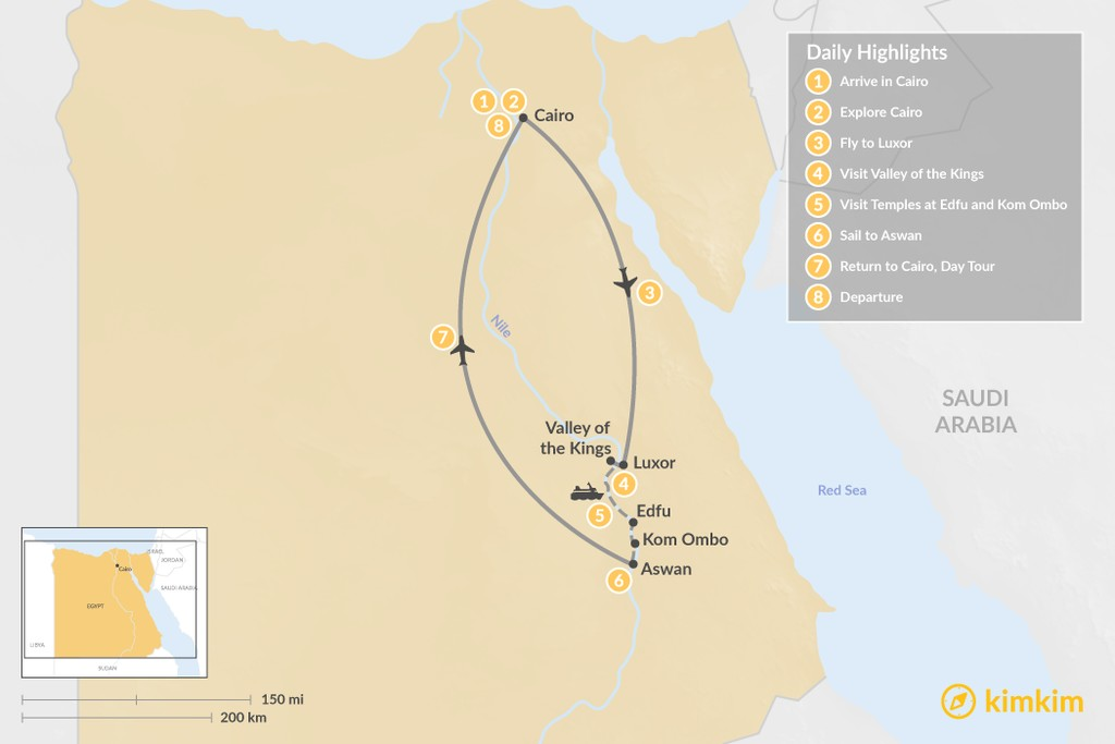 Map of Jewels of The Nile: Cairo, Luxor, and Aswan - 8 days