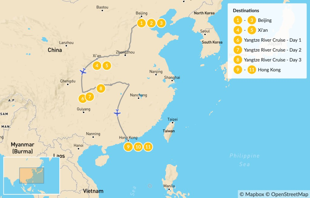 Map of Beijing to Hong Kong Grand Tour - 12 Days