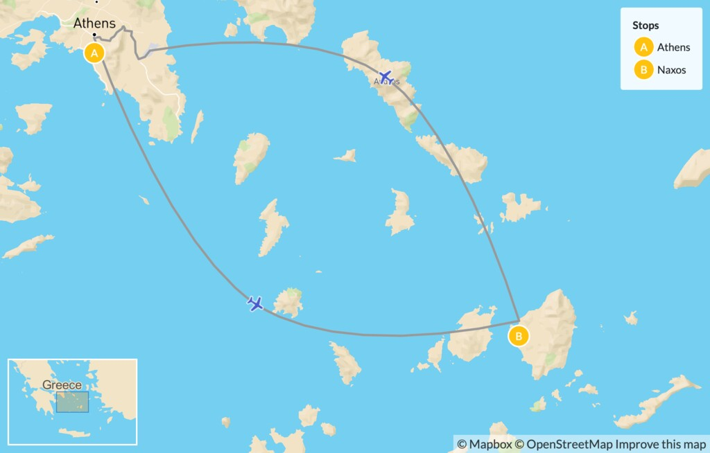 Map of City to Cyclades for Families: Athens and Naxos - 7 Days