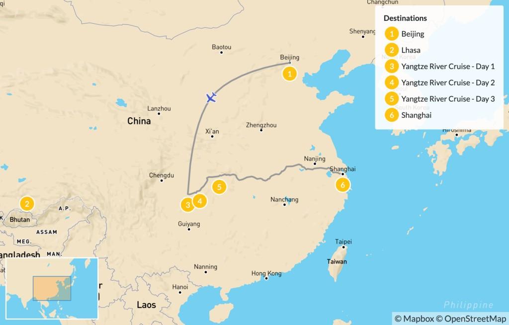 Map of Yangtze River Cruise -7 Days