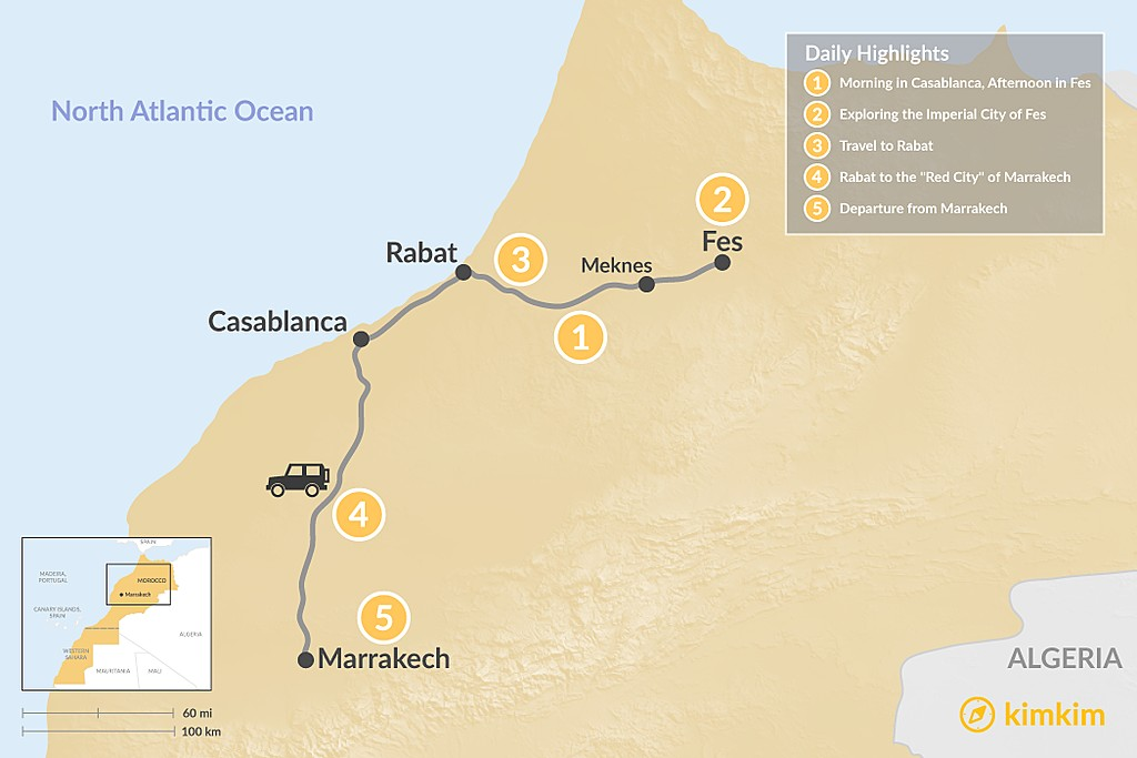 Map of Moroccan Cities: Casablanca, Fes, Rabat & Marrakech - 5 Days