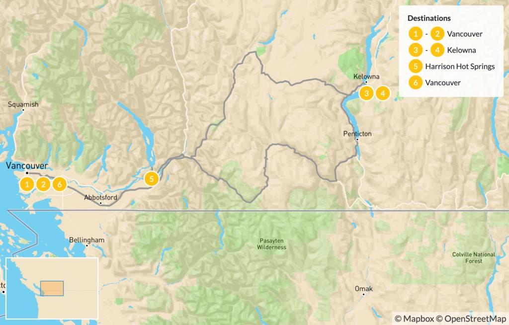 Map of Okanagan Valley Road Trip: Wine & Outdoors - 7 Days