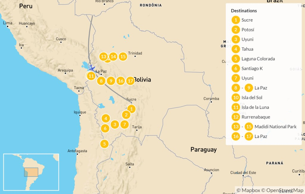 Map of Explore Bolivia: Andes to Amazon - 18 Days