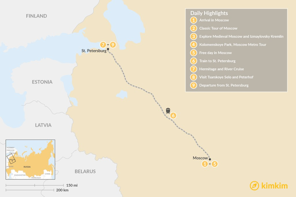 Map of Highlights of Russia's Two Capitals - 9 Days