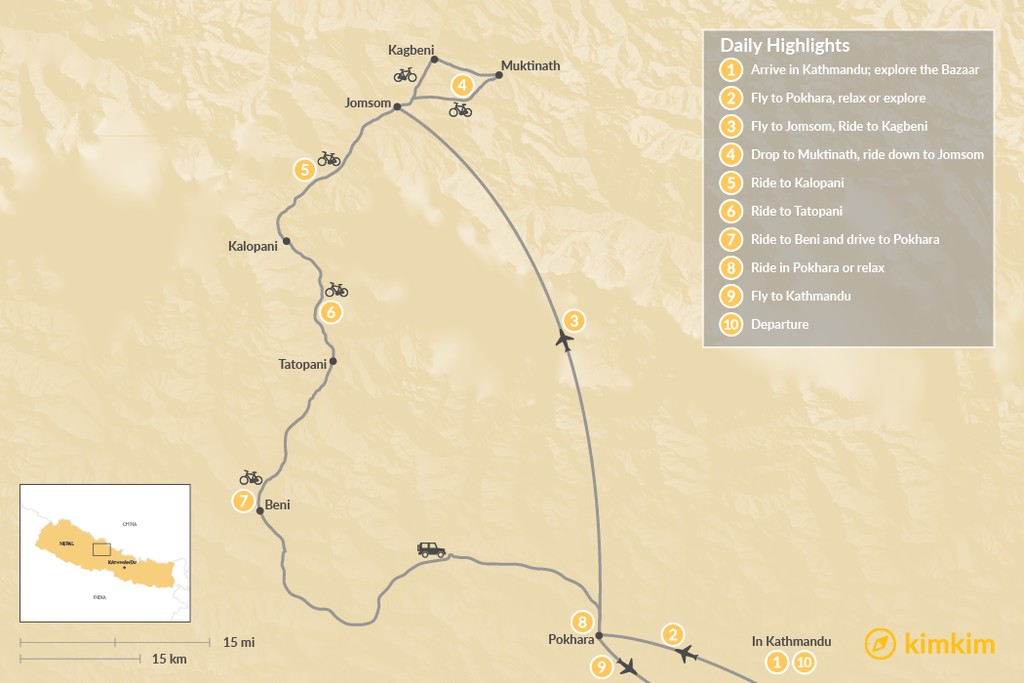 Map of Lower Mustang MTB - 10 Days