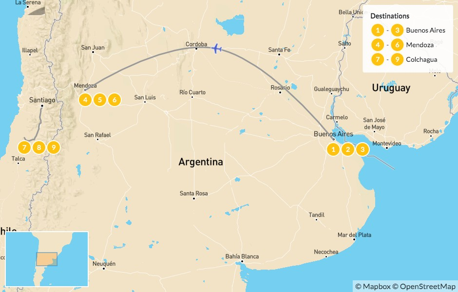 Map of Argentina & Chile Vineyard Honeymoon: Buenos Aires, Mendoza & Colchagua - 10 Days