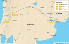 Map thumbnail of Argentina & Chile Vineyard Honeymoon: Buenos Aires, Mendoza & Colchagua - 10 Days