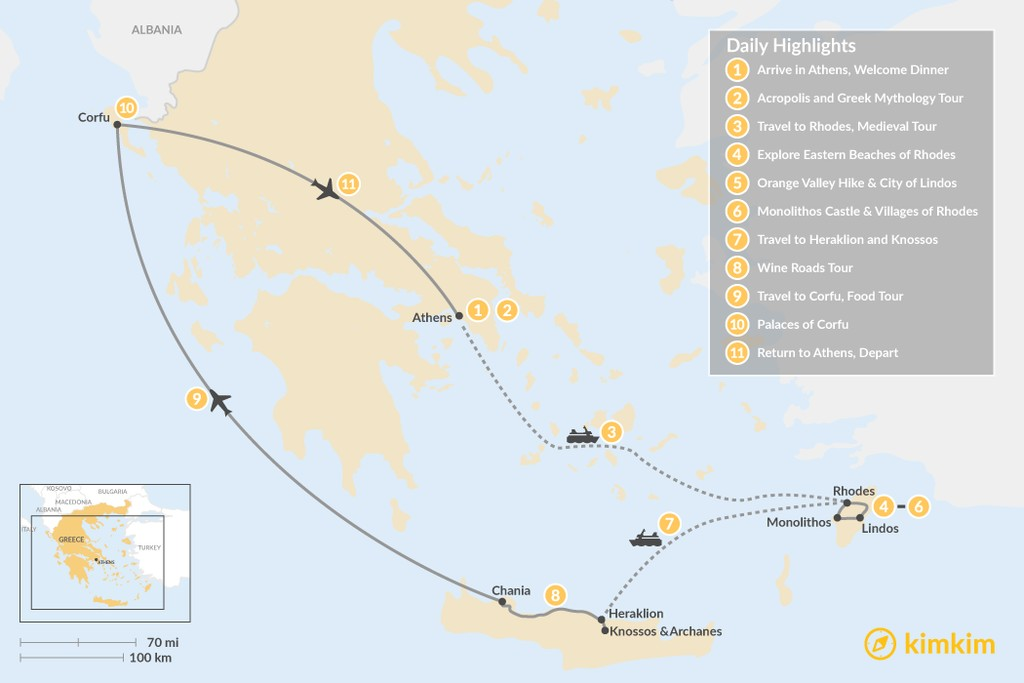 Map of Discover Rhodes, Crete, and Corfu - 11 Days