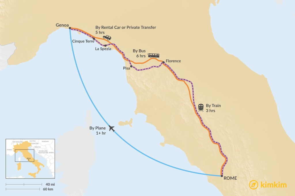 Map of How to Get from Rome to the Italian Riviera