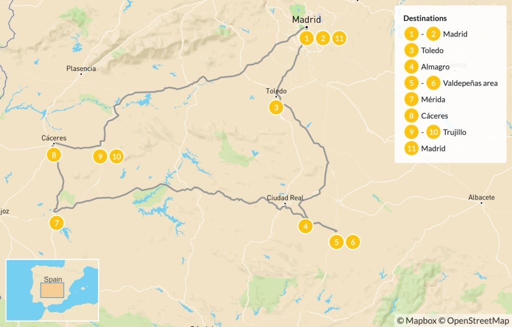 Map of Spain Off-the-Beaten-Path Road Trip: Madrid, La Mancha, & Extremadura - 12 days