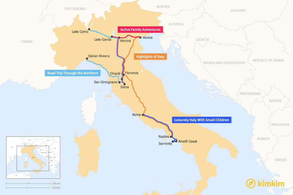 Map of 14 Days in Italy - 4 Family-Friendly Itineraries