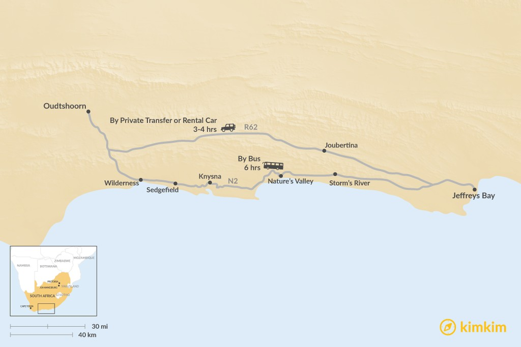 Map of How to Get from Jeffreys Bay to Oudtshoorn