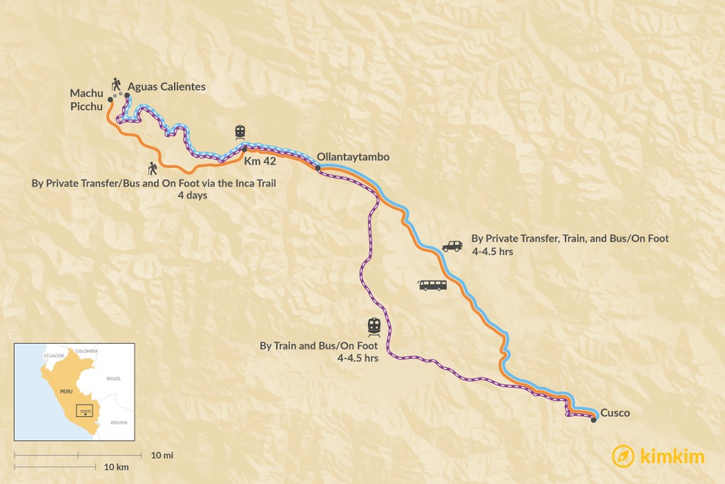 Map of How to Get from Cusco to Machu Picchu