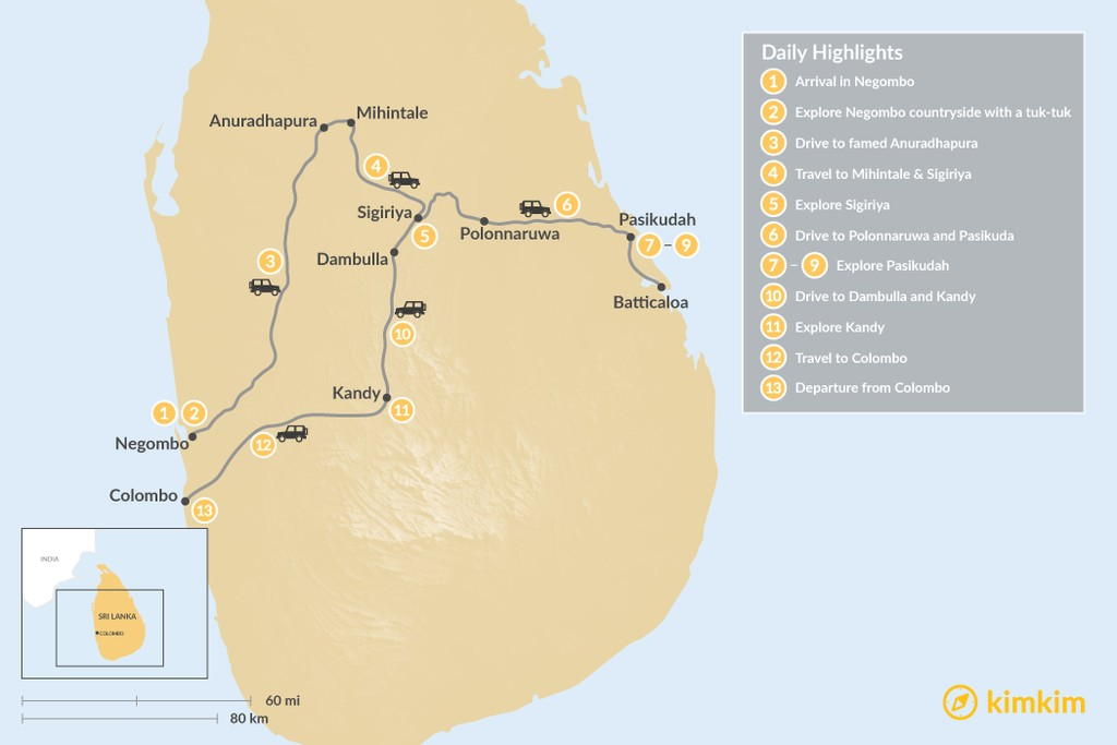 Map of Cultural Triangle and the East Coast of Sri Lanka - 13 Days