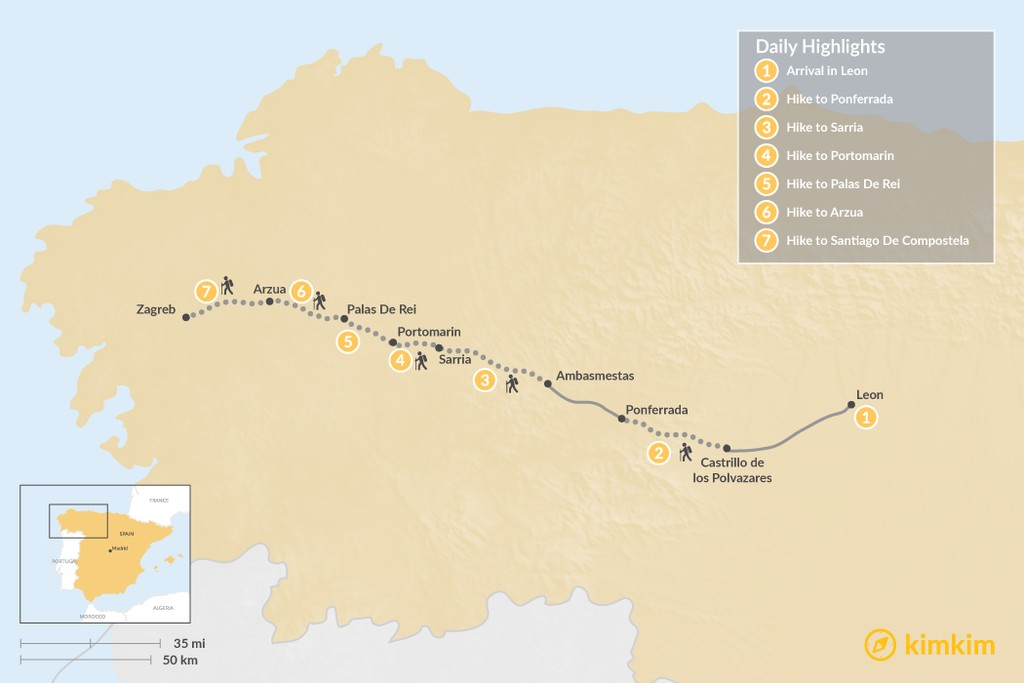 Map of Camino de Santiago - 7-Day Itinerary