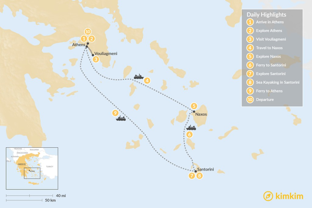 Map of Culture & Adventure in Athens, Naxos & Santorini - 10 Days
