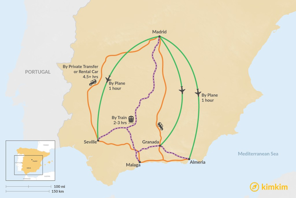Map of How to Get from Madrid to Andalusia