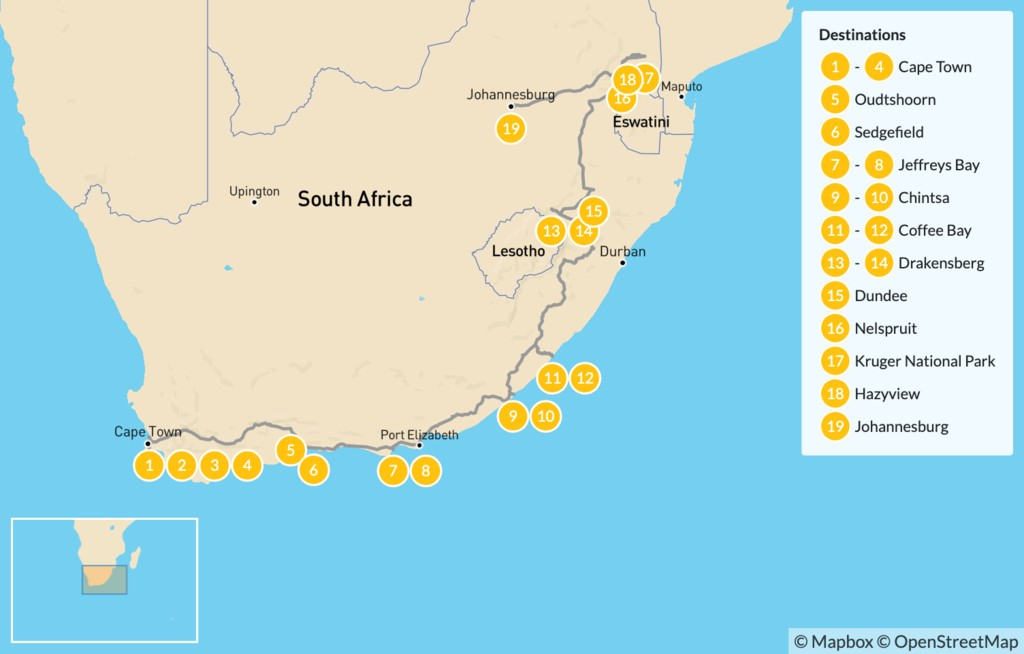 Map of  Country of Contrasts Road Trip: Cape Town, Garden Route, Wild Coast, Kruger National Park, & More - 20 Days