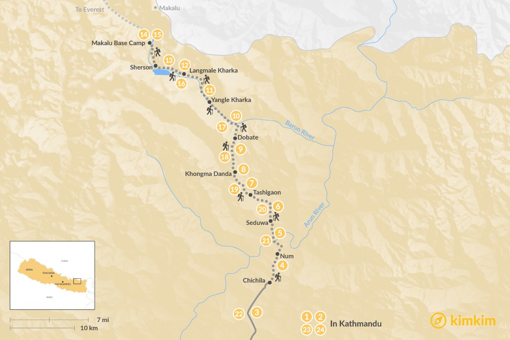 Map of Makalu Base Camp Trek - 24 Days
