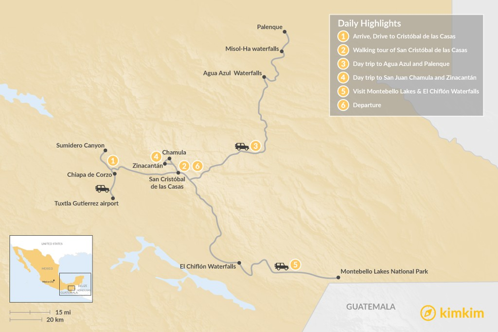 Map of Highlights of Chiapas - 6 Days