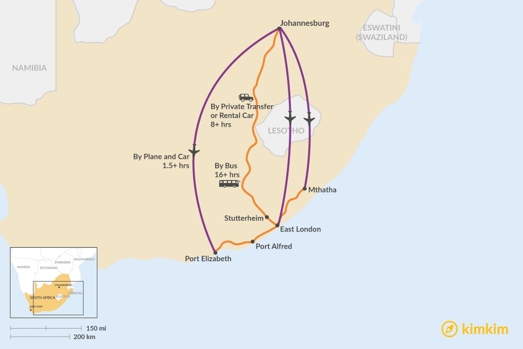 Map of How to Get from Johannesburg to Eastern Cape
