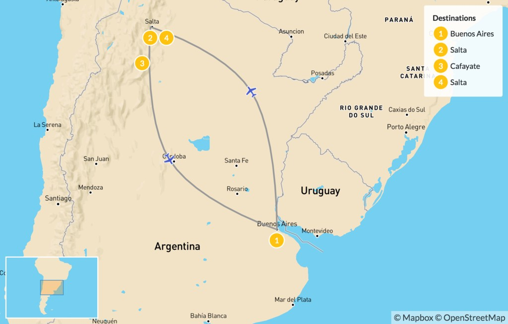 Map of Argentina's Salta & Calchaquí Valley - 5 Days