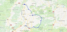 Map thumbnail of Discover Provence by E-Bike: Grignan, Roussillon, Avignon, Aix, & More - 17 Days