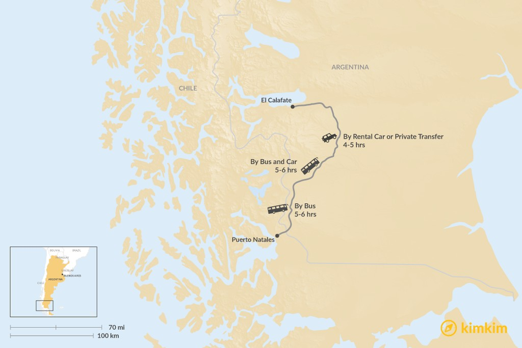 Map of How to Get from Puerto Natales to El Calafate