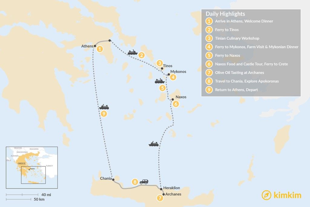 Map of Cyclades & Crete Culinary History Tour - 9 Days